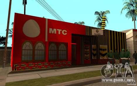 Tienda MTS y línea recta para GTA San Andreas