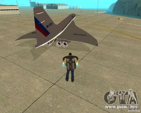 Tupolev TU-144 para GTA San Andreas vista posterior izquierda