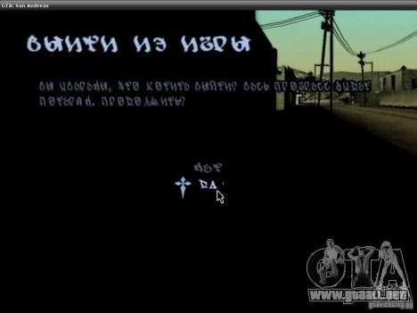 La fuente del NFS MW V2 para GTA San Andreas novena de pantalla