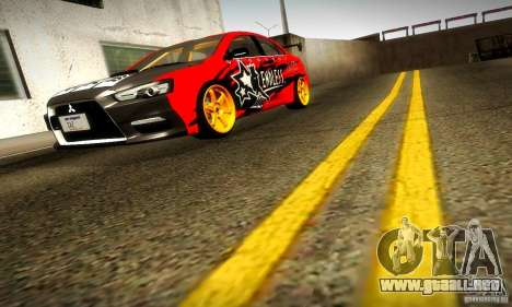 Mitsubishi Lancer Evo X Tuned para vista inferior GTA San Andreas