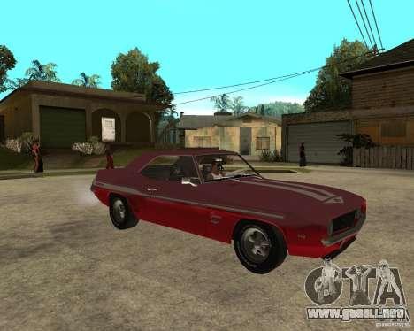 1969 Yenko Chevrolet Camaro para la visión correcta GTA San Andreas
