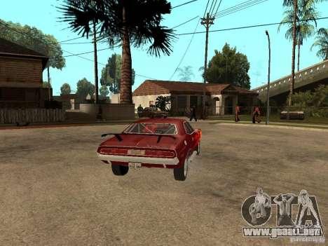 Dodge Challenger Tuning para GTA San Andreas vista posterior izquierda