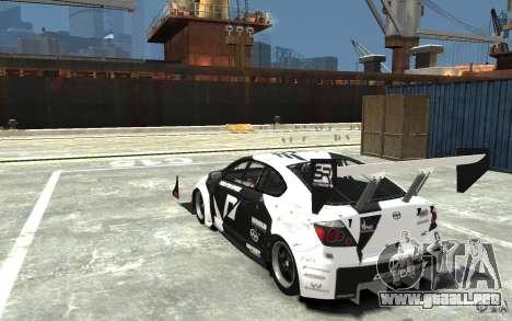 Scion tC AWD V1.0 para GTA 4 Vista posterior izquierda