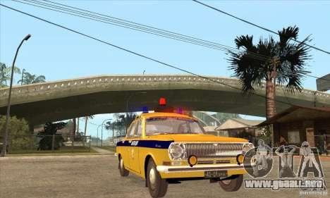 Policía 2401 Volga GAZ para GTA San Andreas vista hacia atrás