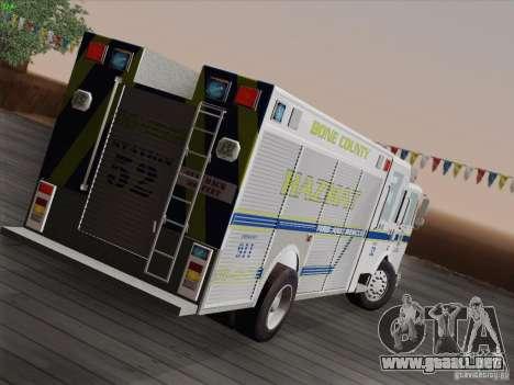 Pierce Fire Rescues. Bone County Hazmat para GTA San Andreas vista hacia atrás
