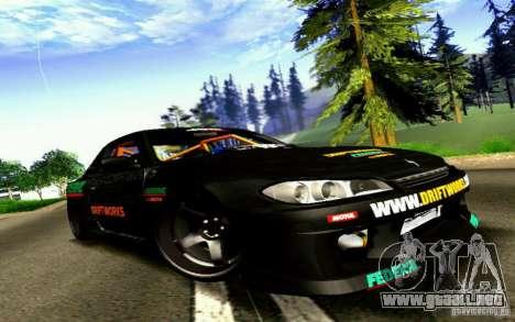 Nissan Silvia S15 Drift Works para GTA San Andreas vista posterior izquierda