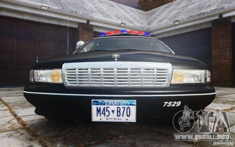 Chevrolet Caprice 1991 Police para GTA 4 vista superior
