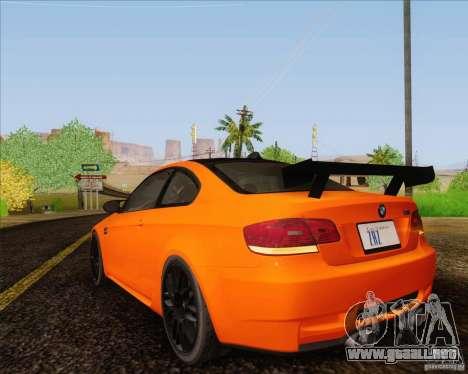 BMW M3 GT-S para GTA San Andreas vista hacia atrás