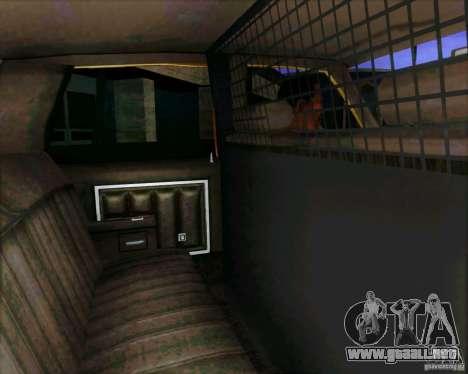 Chevrolet Impala 1986 Taxi Cab para GTA San Andreas vista hacia atrás