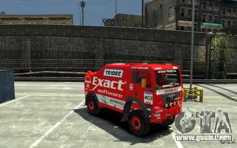 MAN TGA Rally Truck para GTA 4 vista hacia atrás