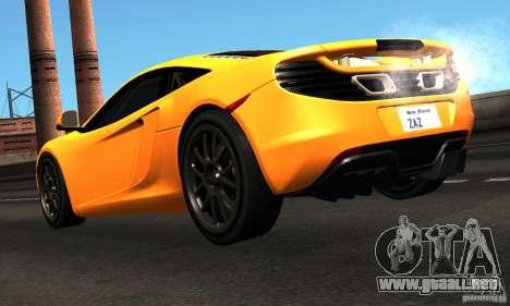 McLaren MP4-12C TT Black Revel para GTA San Andreas vista posterior izquierda