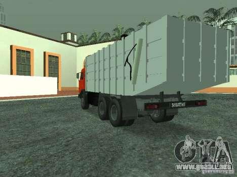 Camión de basura 53215 KAMAZ para GTA San Andreas vista posterior izquierda