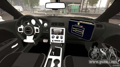 Dodge Challenger SRT8 392 2012 Police [ELS][EPM] para GTA 4 vista hacia atrás