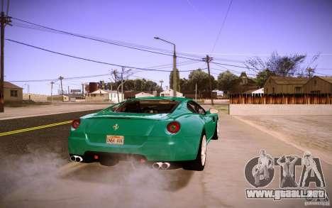 Ferrari 599 GTB Fiorano 2010 para GTA San Andreas vista hacia atrás