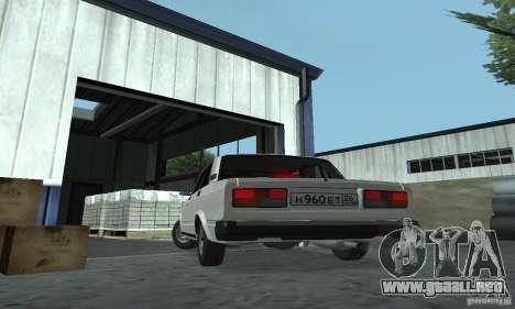 Vaz 2107 Stock v.2 para GTA San Andreas vista posterior izquierda