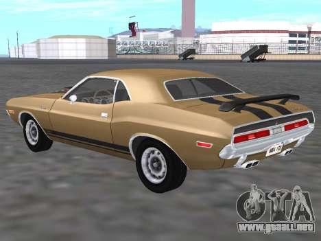 Dodge Challenger 440 Six Pack 1970 para GTA San Andreas vista posterior izquierda