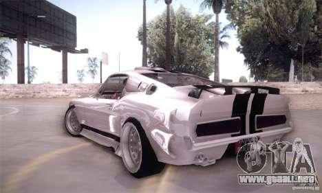 Shelby GT500 para GTA San Andreas vista posterior izquierda