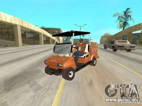 Golfcart caddy para GTA San Andreas vista hacia atrás