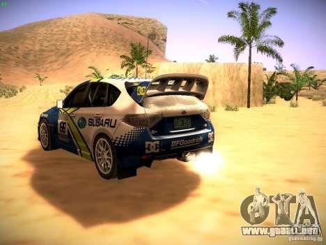 Subaru impreza Tarmac Rally para GTA San Andreas vista posterior izquierda
