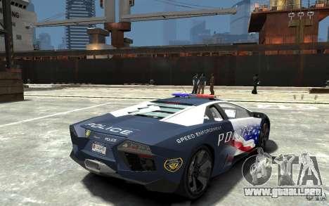Lamborghini Reventon Police Stinger Version para GTA 4 visión correcta