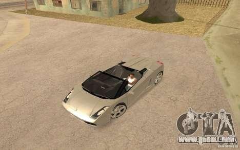 Lamborghini Galardo Spider para GTA San Andreas vista posterior izquierda
