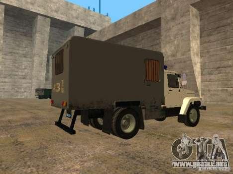 GAZ 3309 patrullero para GTA San Andreas vista posterior izquierda