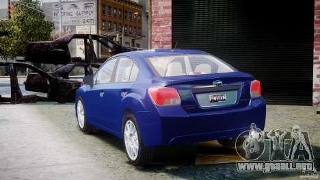Subaru Impreza Sedan 2012 para GTA 4 Vista posterior izquierda