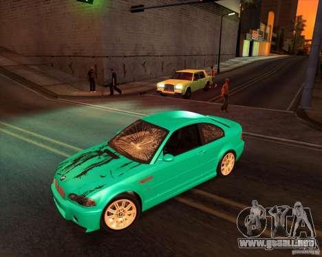 BMW M3 E46 stock para GTA San Andreas vista posterior izquierda