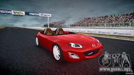 Mazda Miata MX5 Superlight 2009 para GTA 4 vista hacia atrás