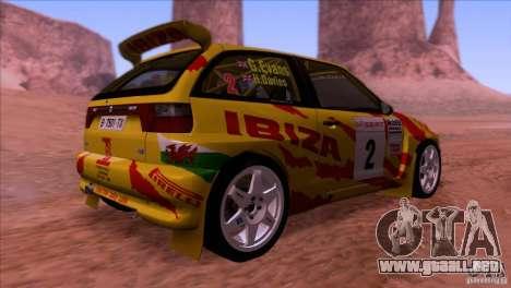 Seat Ibiza Rally para visión interna GTA San Andreas