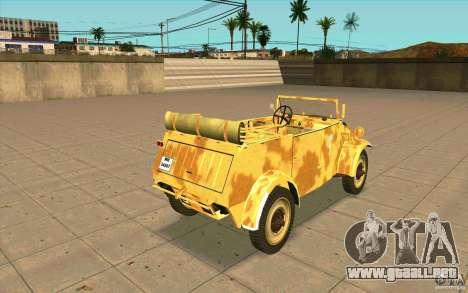 Kuebelwagen v2.0 desert para GTA San Andreas vista posterior izquierda