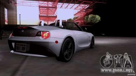 BMW Z4 V10 para GTA San Andreas vista hacia atrás