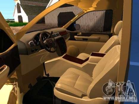 GMC Yukon Denali XL para visión interna GTA San Andreas