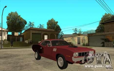 Plymouth Cuda 426 para GTA San Andreas vista hacia atrás