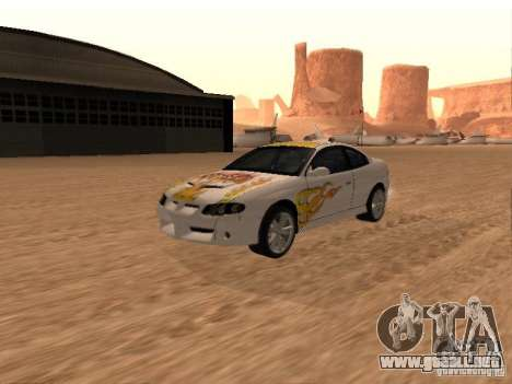Vauxhall Monaro para vista inferior GTA San Andreas