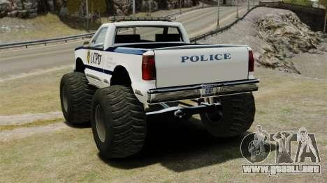Policía Monster Truck ELS para GTA 4 Vista posterior izquierda