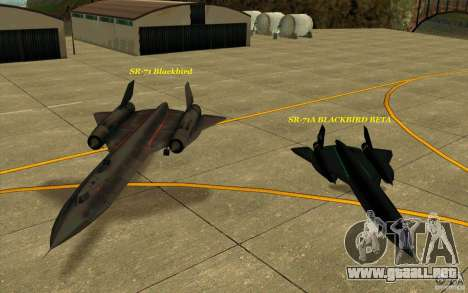SR-71A BLACKBIRD BETA para la vista superior GTA San Andreas