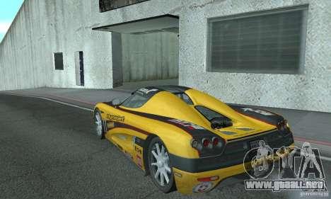 Koenigsegg CCX (v1.0.0) para GTA San Andreas vista posterior izquierda