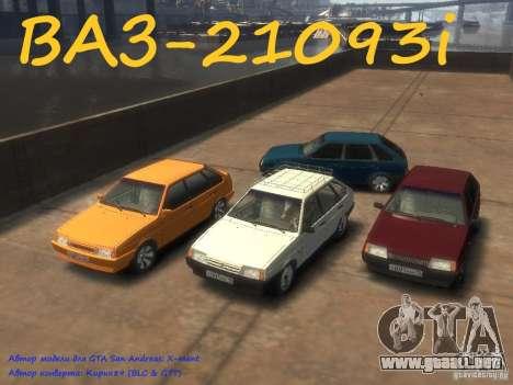 VAZ 21093i la afinación completa para GTA 4 Vista posterior izquierda