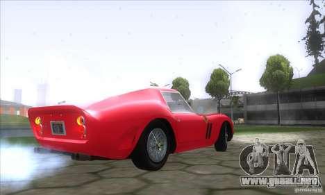 Ferrari 250 GTO 1962 para GTA San Andreas vista posterior izquierda