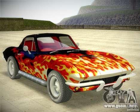 Chevrolet Corvette Stingray para GTA San Andreas vista hacia atrás