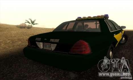 Ford Crown Victoria Indiana Police para GTA San Andreas left