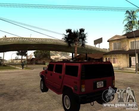 Hummer H2 SE para GTA San Andreas vista posterior izquierda