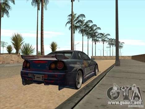 Nissan Skyline R34 VeilSide para GTA San Andreas vista hacia atrás