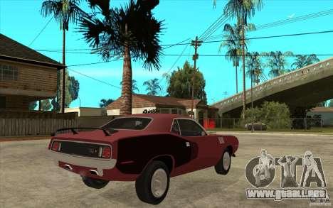 Plymouth Cuda 426 para la visión correcta GTA San Andreas