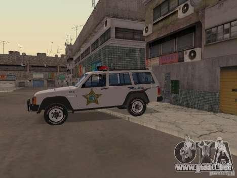 Jeep Cherokee Police 1988 para GTA San Andreas vista hacia atrás