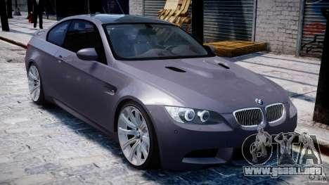 BMW M3 E92 stock para GTA 4 vista desde abajo