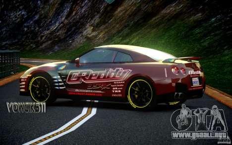 Nissan GT-R Black Edition GReddy para GTA 4 Vista posterior izquierda