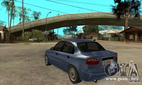 Daewoo Lanos v2 para GTA San Andreas vista posterior izquierda