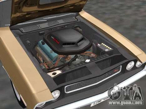 Dodge Challenger 440 Six Pack 1970 para GTA San Andreas vista hacia atrás